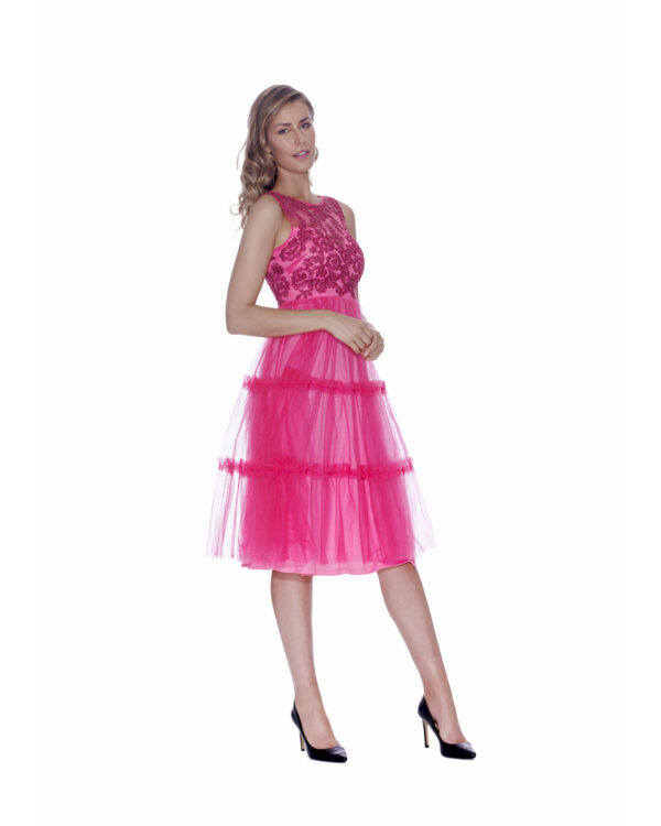 TULLE AND PAILLETTES DRESS WHIT TULLE SHAWL