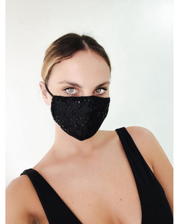 Mask paillettes nero