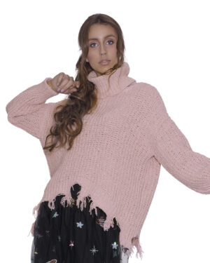 Sweater with high collar