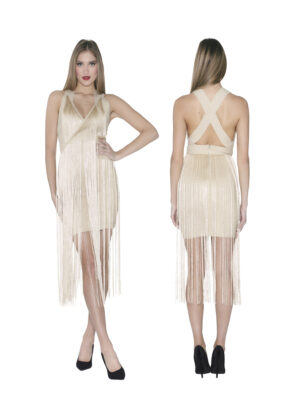 Bandage dress with fringes