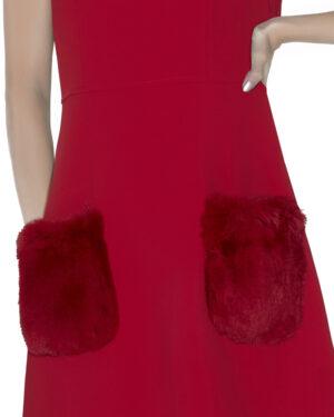 Dress with fur pockets