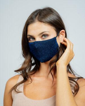 Mask lurex stretch blu