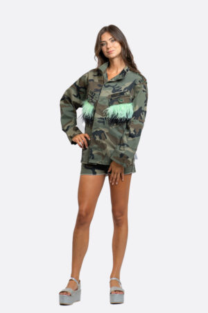 Camouflage Jacket With Feathers