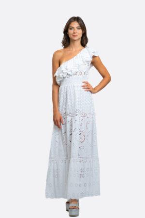 Sangallo One-Shoulder Dress