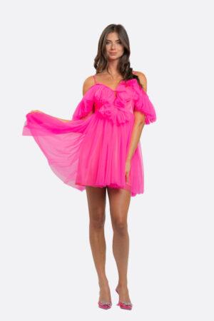 Shoulder-Less Tulle Dress