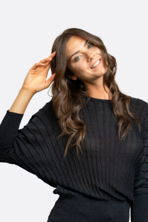 Lurex Bat Sleeves Sweater
