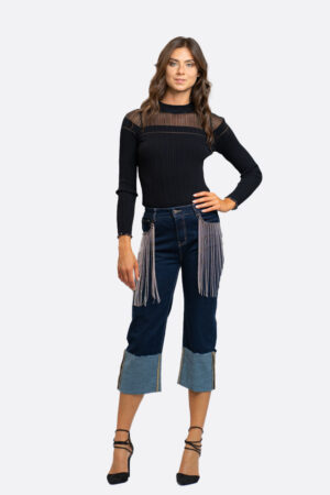 Jeans frange brillanti