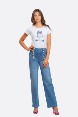Jeans bottoni oro