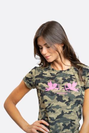 T-shirt militare con angioletti