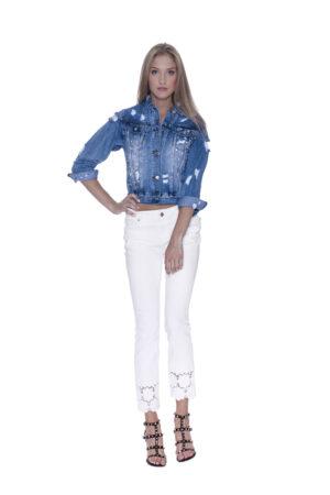 Giubbino jeans con rotture e pietre