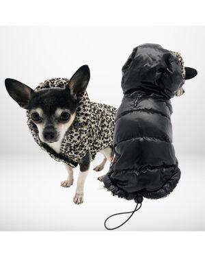 Reversible sequin down jacket