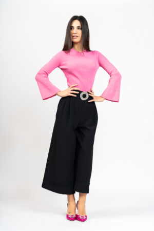 Palazzo trousers with belt