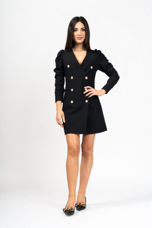 Puff sleeves buttoned dress