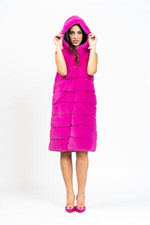 Maxi vest with fur
