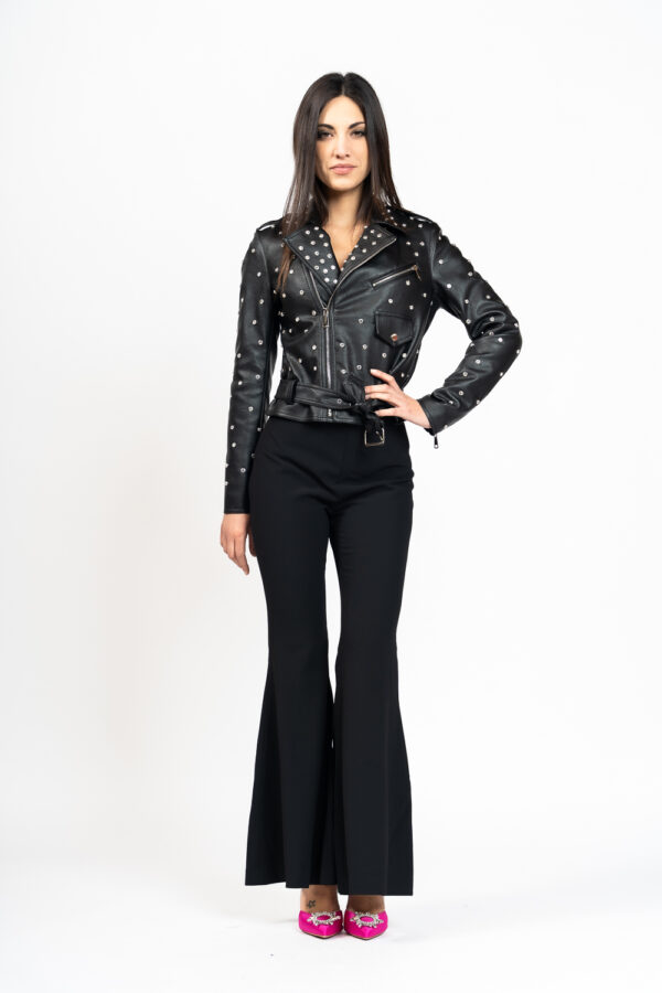 Ecoleather jacket with crystals