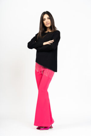 Crystal fringed sweater