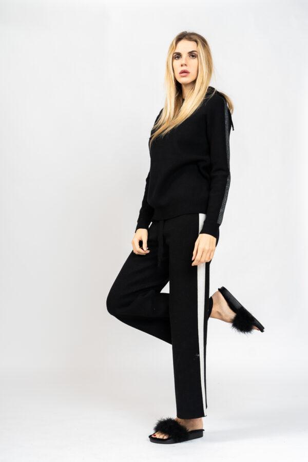 Wide lurex knit trousers