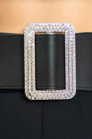 Belt with elastic and crystal buckle