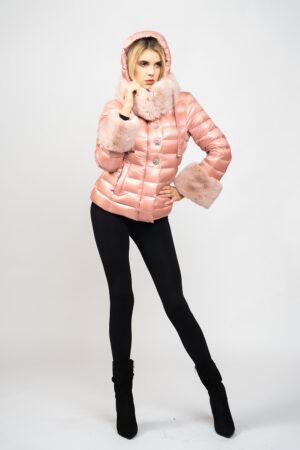 Piumino monopetto corto fur