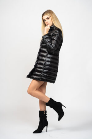 Long double-breasted down jacket