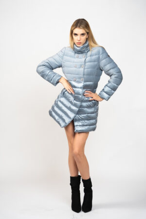 Long lurex double-breasted down jacket