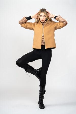 Short velor down jacket