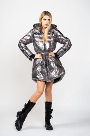 Street long down jacket with hood